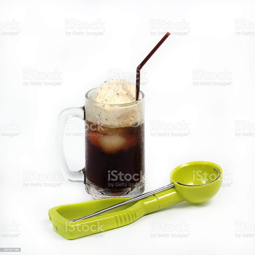 Root beer float with scoop stock photo