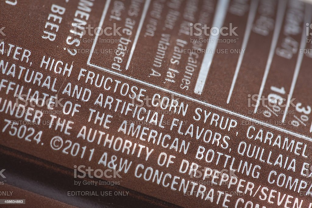 A&W Root Beer List of Ingredients stock photo