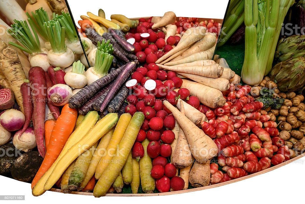 Root parsley, radishes, carrots, fennel, turnips. Concept of healthy eating stock photo