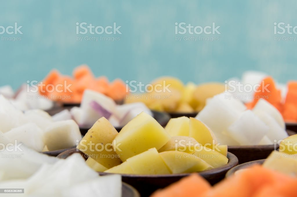 Root Vegetables in Bowls with Copy Space stock photo