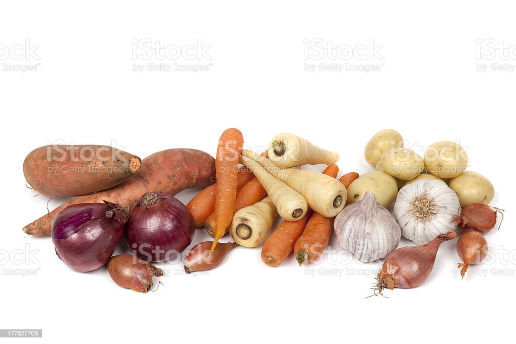 Root Vegetables Isolated on White stock photo
