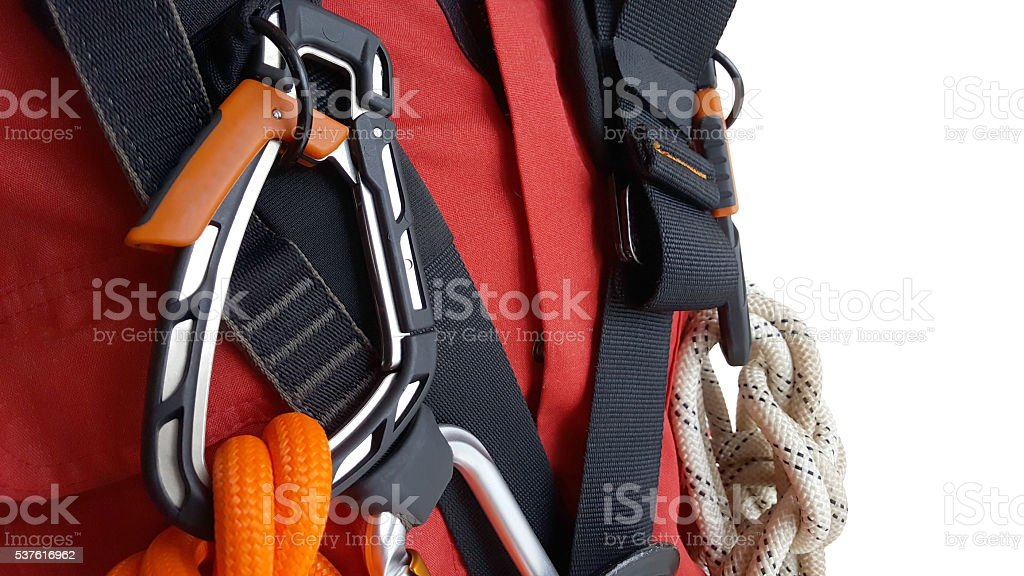 Rope access equipments on inspector man stock photo