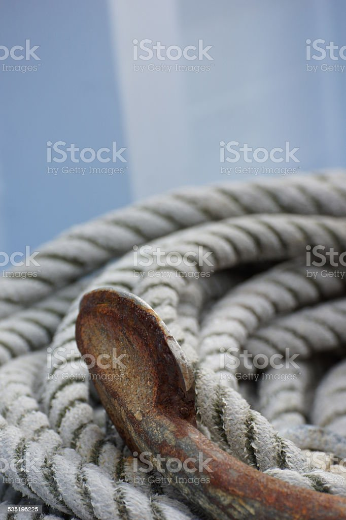 Rope and anchor fluke on a Danish fisherboat stock photo