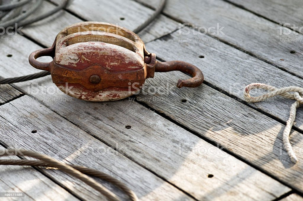 Rope and pulley (block and tackle) on a sailing boat stock photo