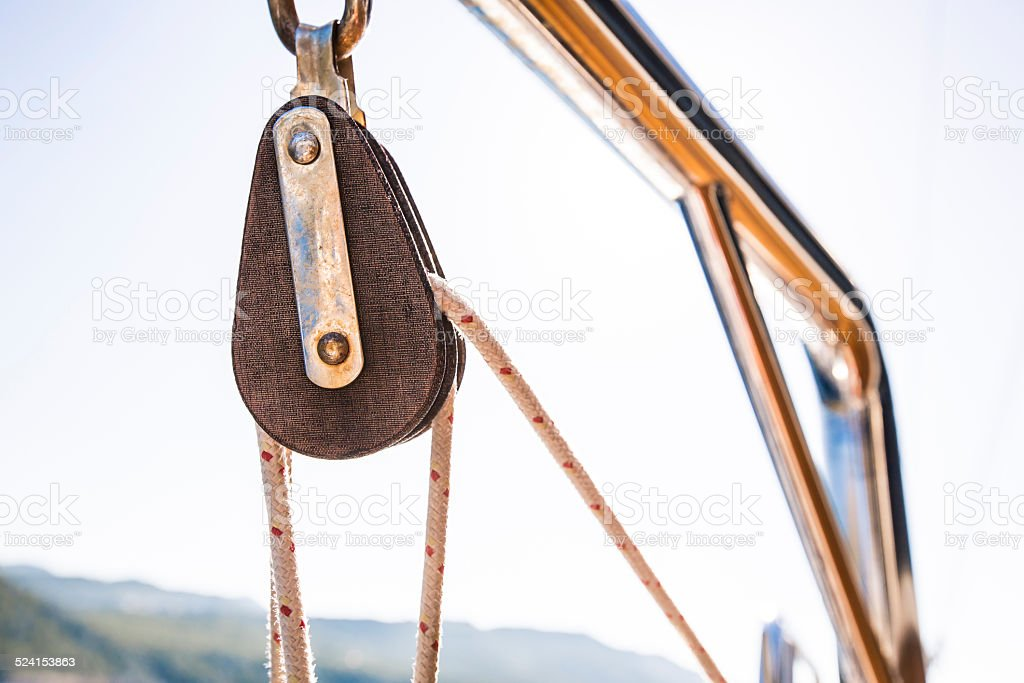 Rope and Reel in sailing yacht - 3 stock photo