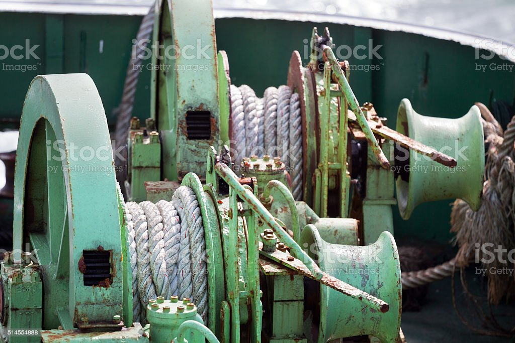 Rope and winch stock photo