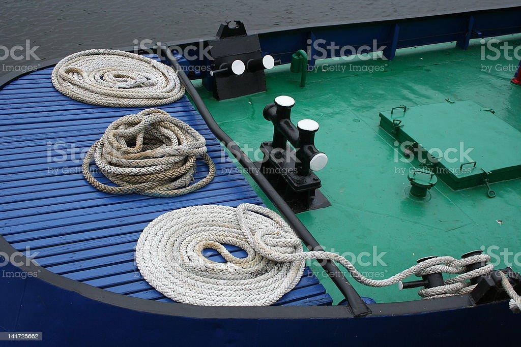 Rope at the fishing boat royalty-free stock photo