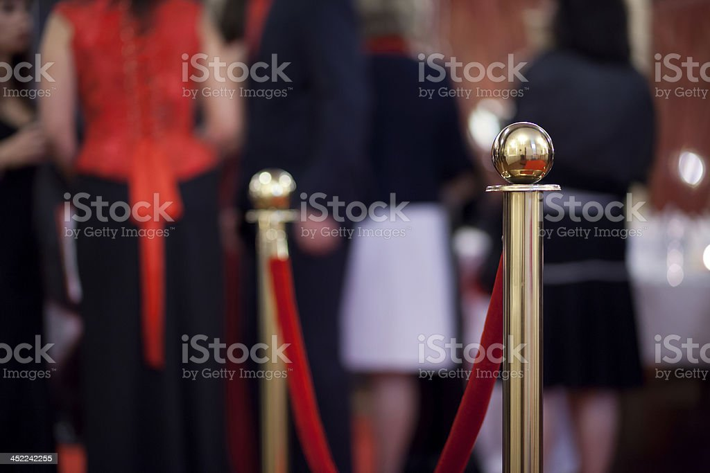 Rope barrier on award ceremony stock photo
