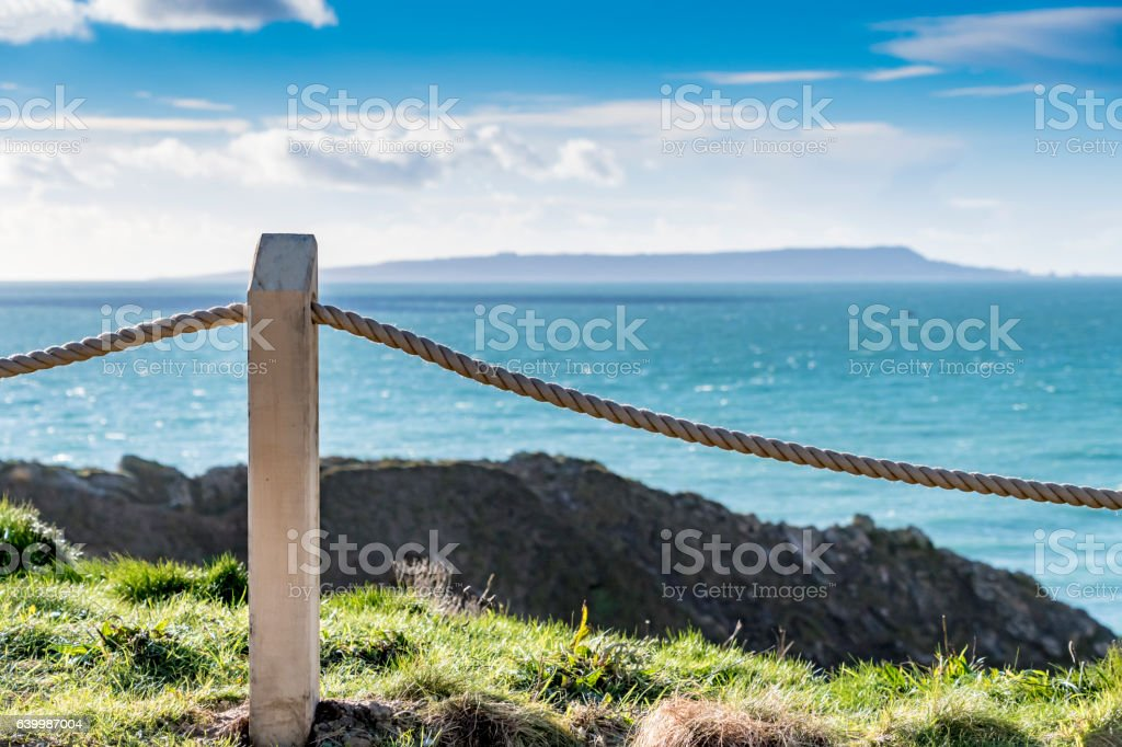 Rope barrier on Jurassic Coast stock photo