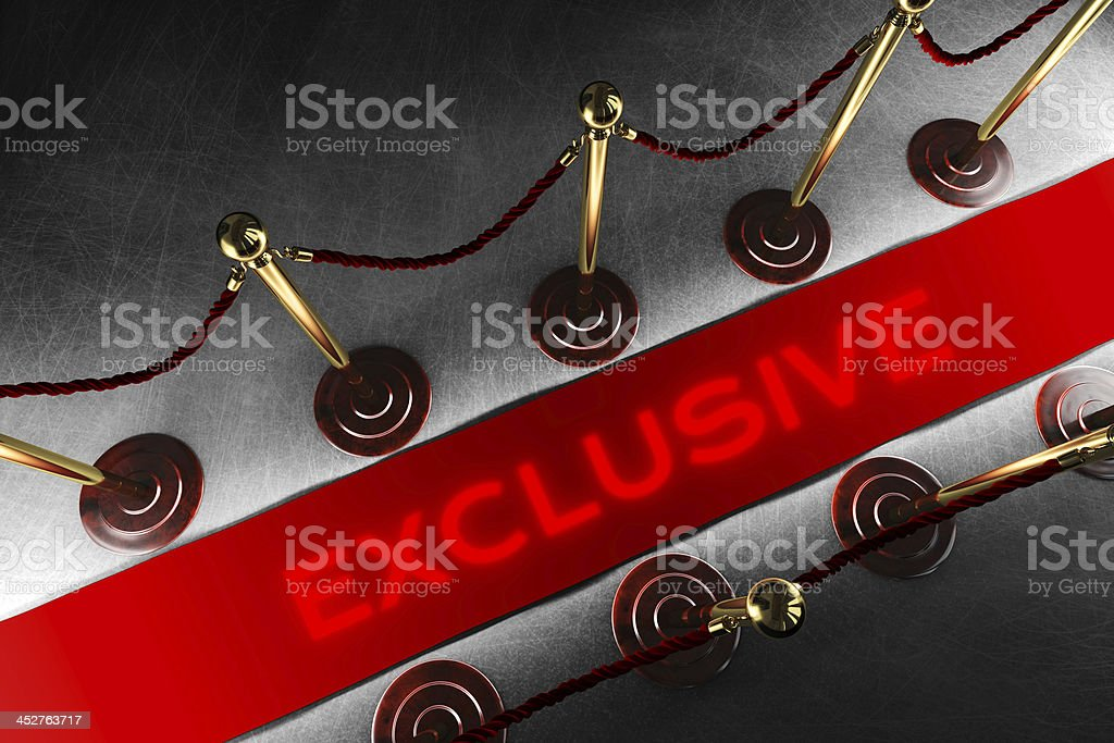 Rope barrier with exclusive red carpet stock photo