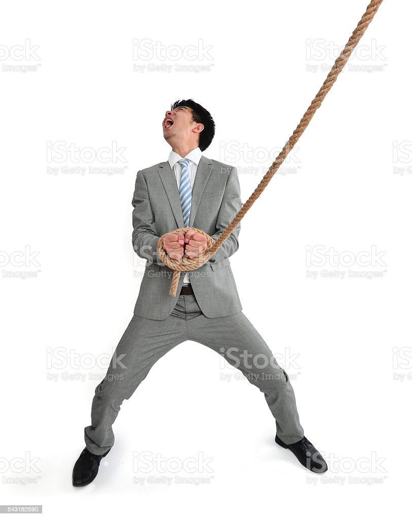 Rope Binding man's Hands stock photo