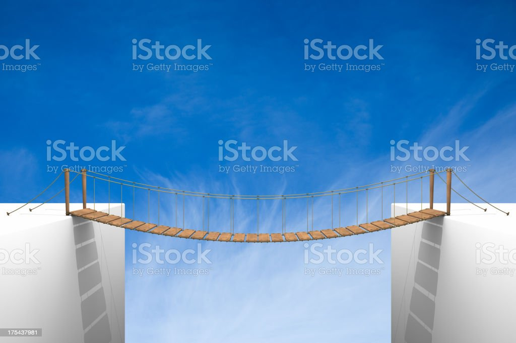 Rope bridge stock photo