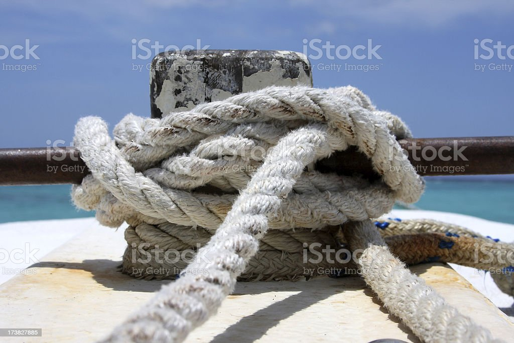 Rope Cleat on a boat royalty-free stock photo
