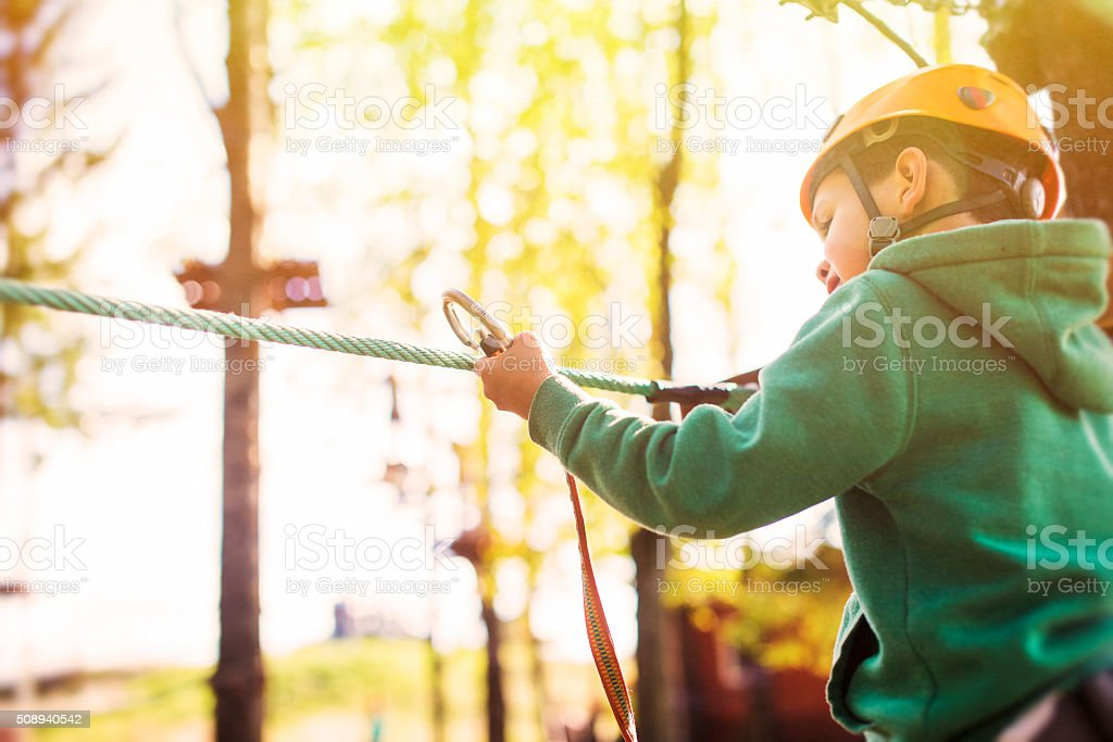 rope course at a summer camp stock photo