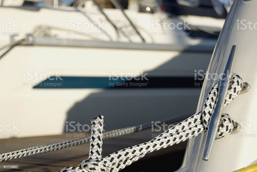 Rope detail on a boat royalty-free stock photo