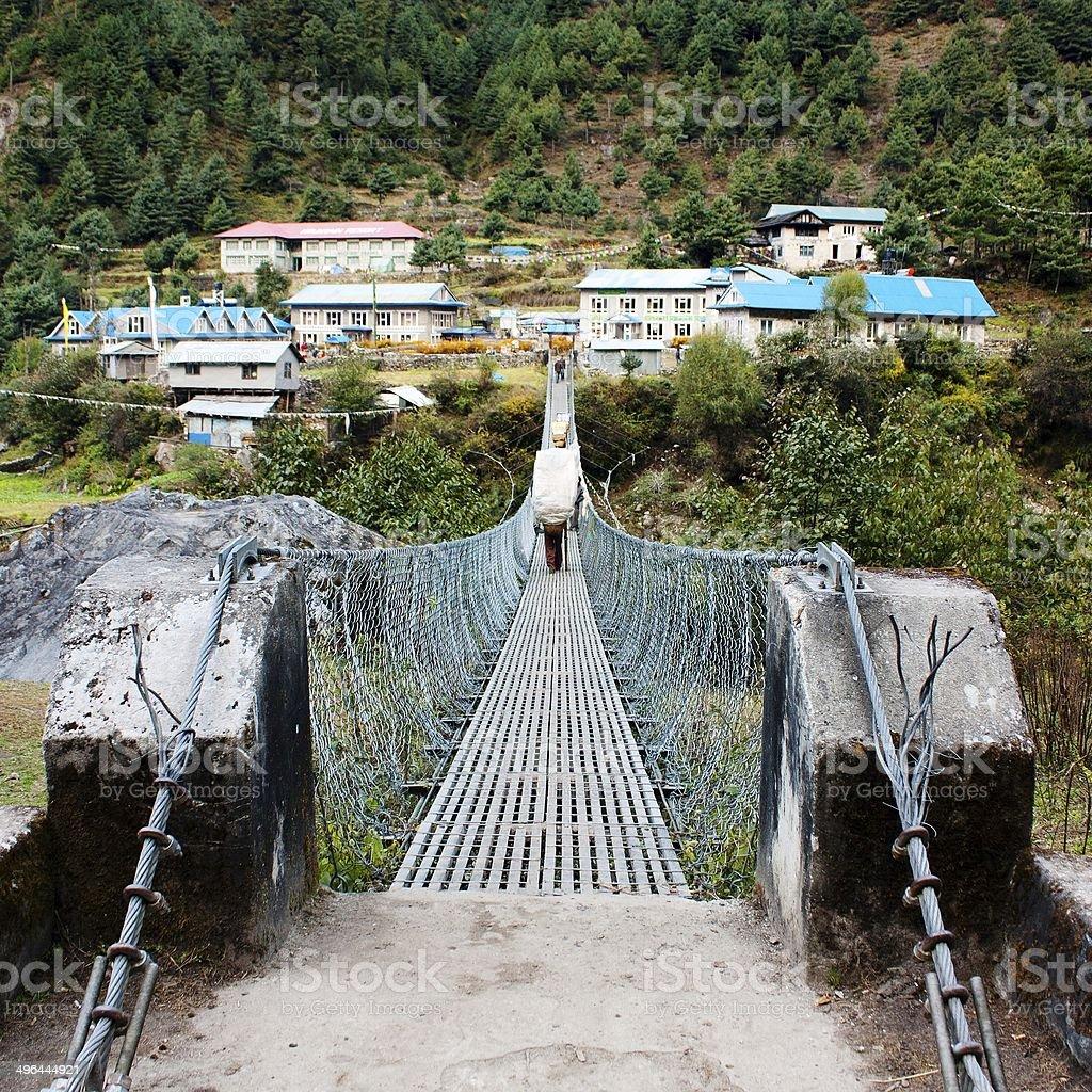 rope hanging suspension bridge stock photo