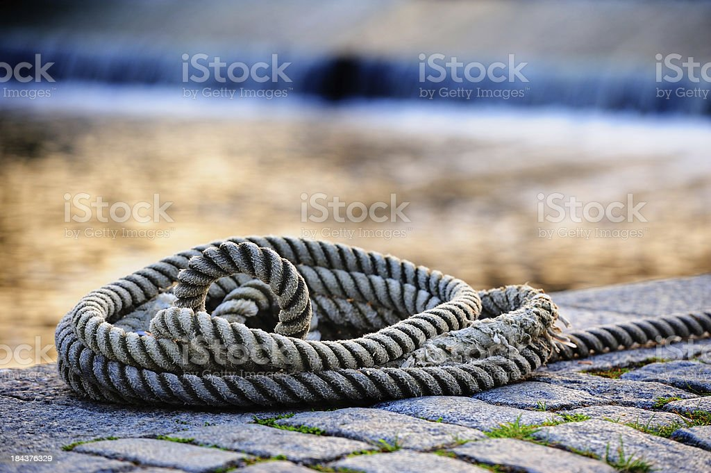 Rope in harbour stock photo