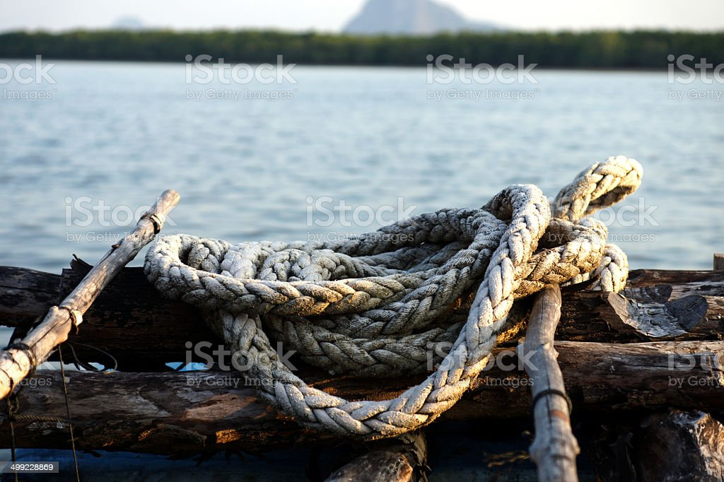 Rope in Oyster Farming, Thailand. stock photo
