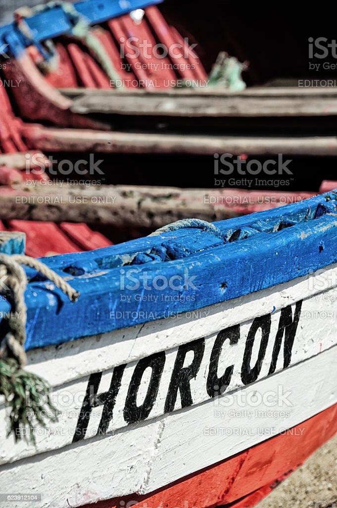 Rope in the bow/front of old fishing boat in Horcon stock photo
