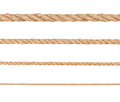 Rope isolated. Collection of different hemp ropes