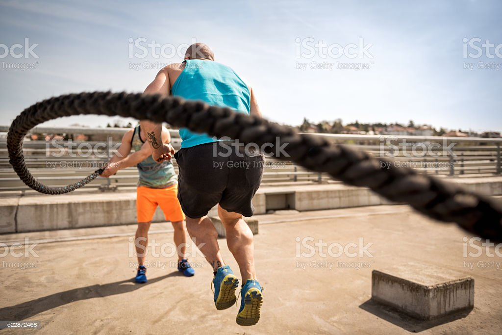 Rope jumping in the open stock photo