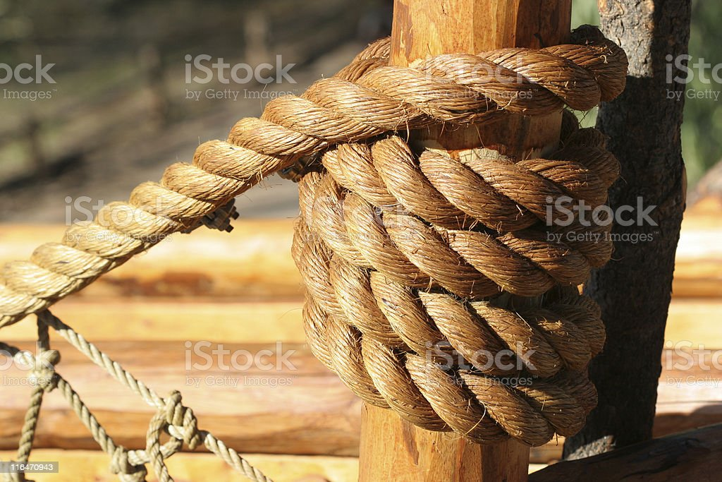 Rope Knot On Wood royalty-free stock photo