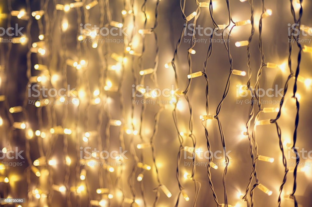 Rope line abstract background with fairy lights stock photo