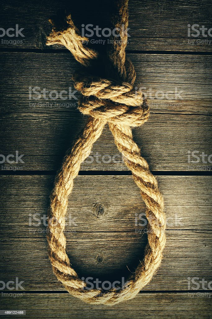 Rope noose with knot stock photo