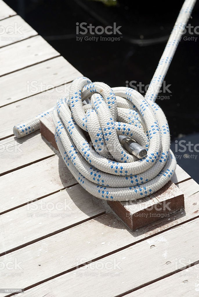 Rope of parked yatch royalty-free stock photo