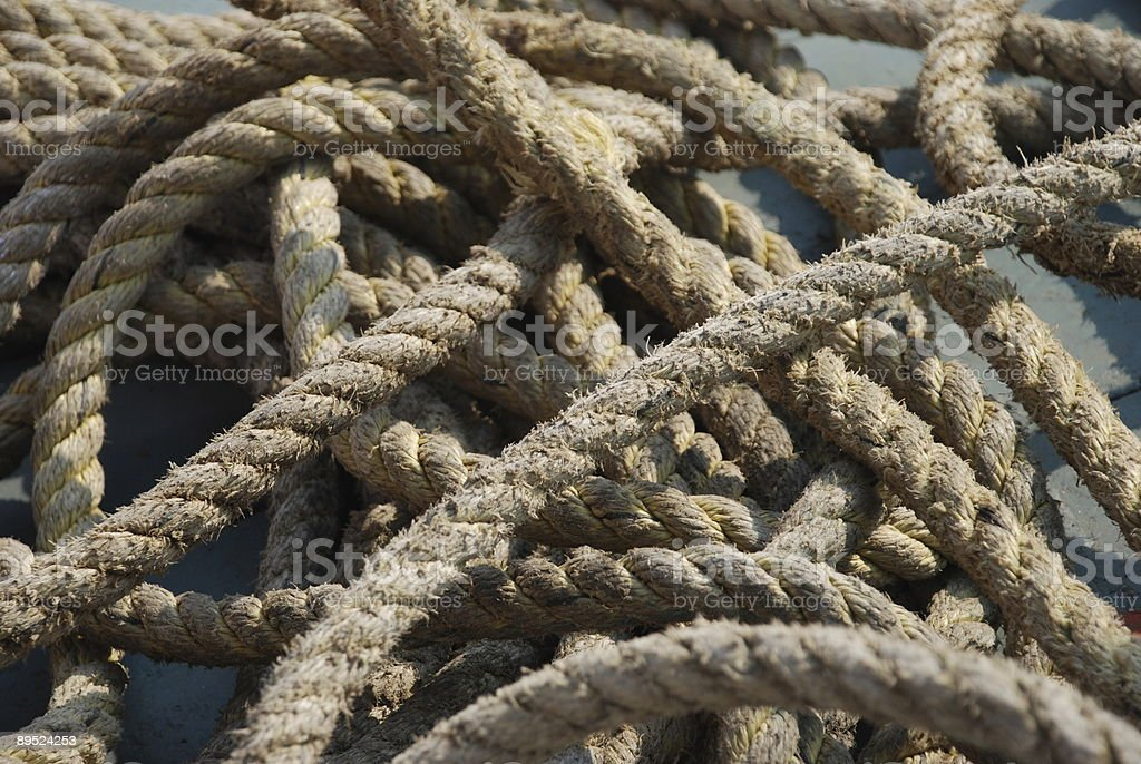 Rope on a boat stock photo