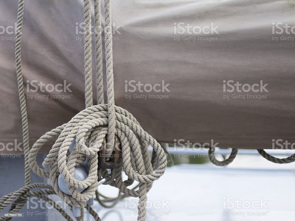 Rope on a historical sailing ship stock photo