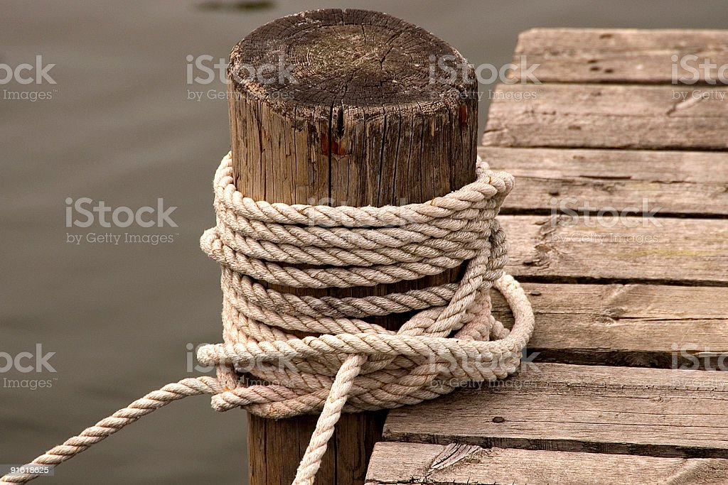 Rope on a jetty stock photo