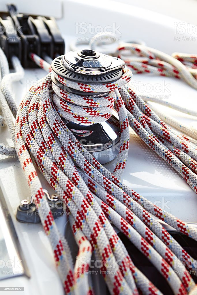 Rope on a sail boat royalty-free stock photo