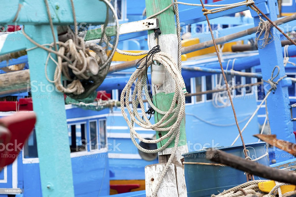 rope on  background of  the ship stock photo