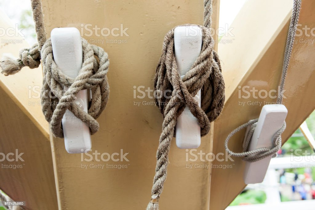 Rope on cleats stock photo
