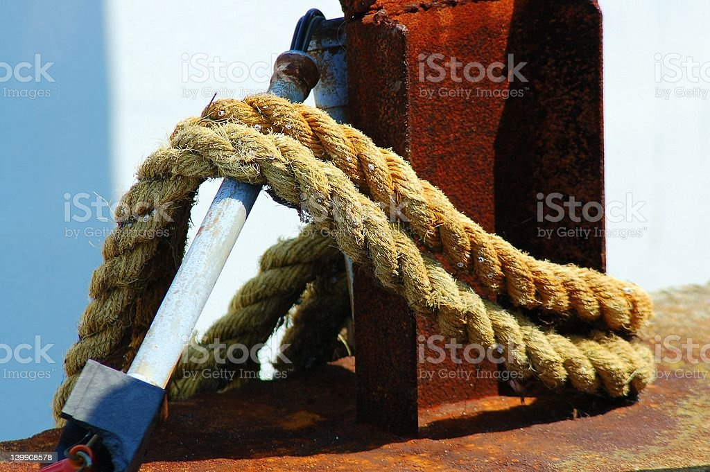 Rope on Docks royalty-free stock photo