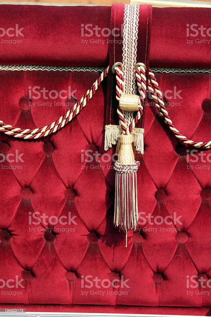 Rope on red velvet stock photo