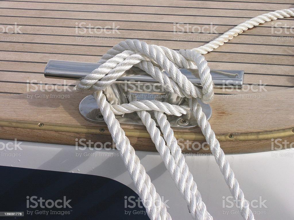 rope on sailing baot royalty-free stock photo