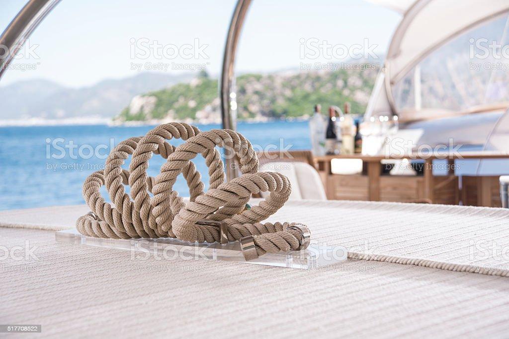Rope on Sailing Yacht stock photo