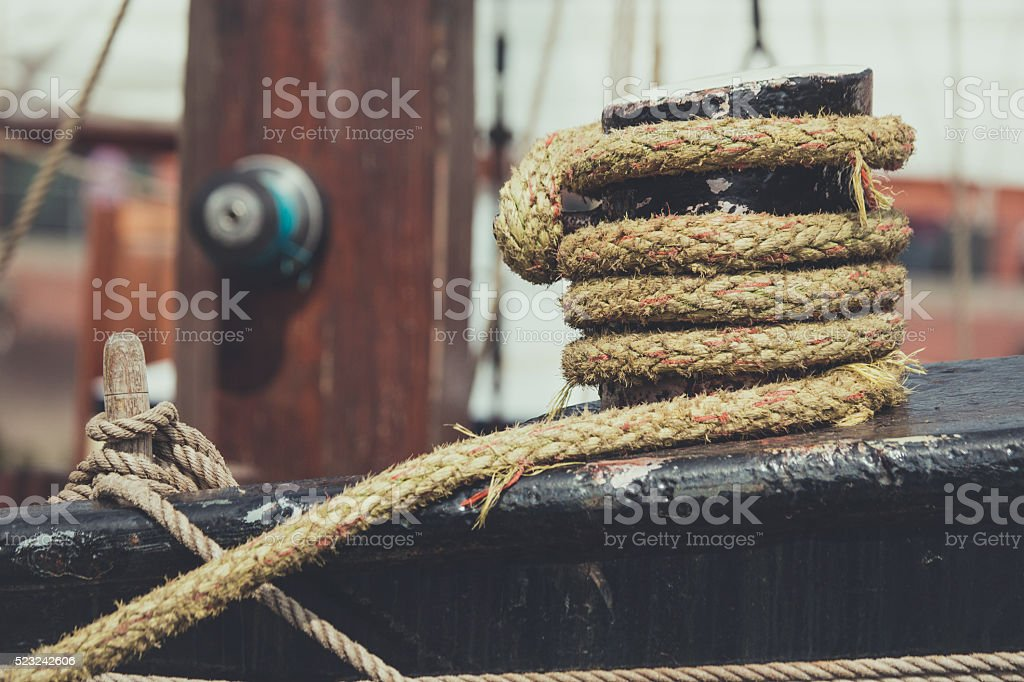 Rope on the boat stock photo