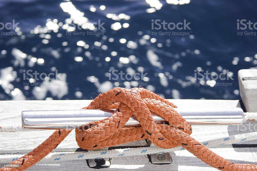 Rope on the cleat royalty-free stock photo