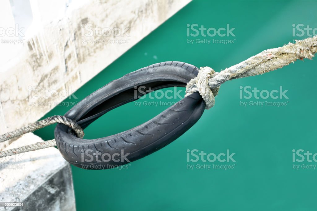 rope on the green river stock photo