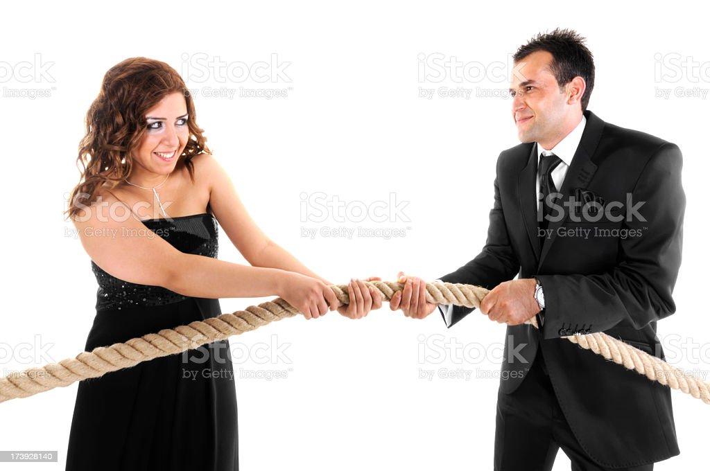 Rope Pulling Couple royalty-free stock photo