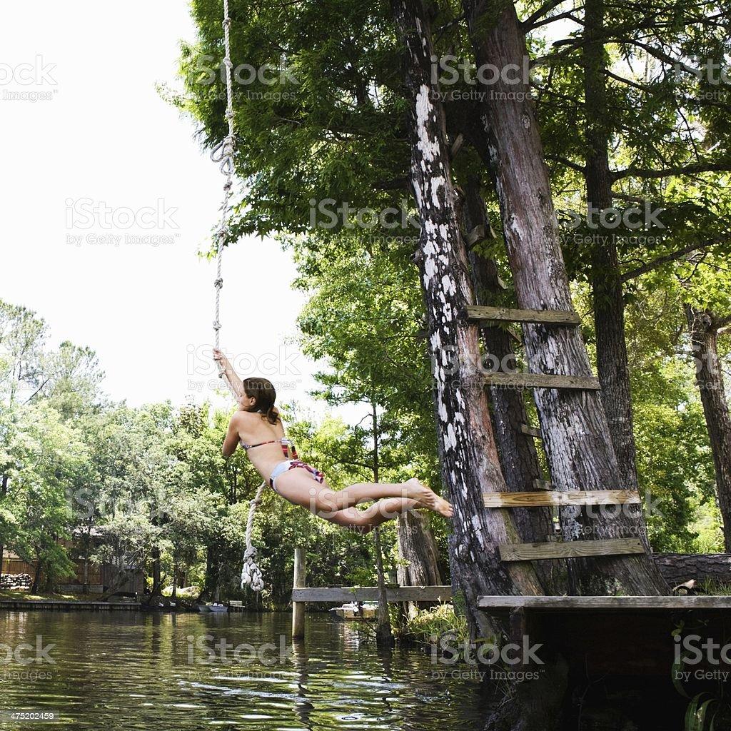 Rope Swinging stock photo