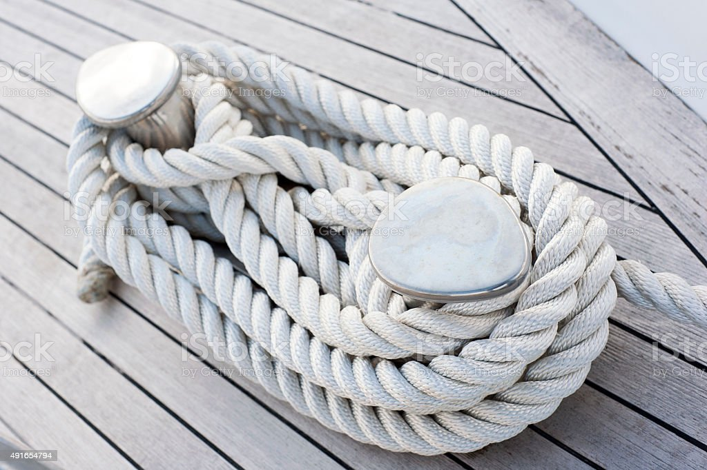 Rope tied on a yacht stock photo