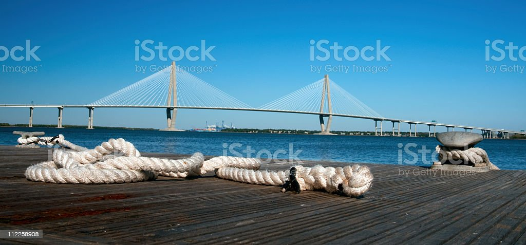 rope waiting for ship Charleston S. Carolina stock photo