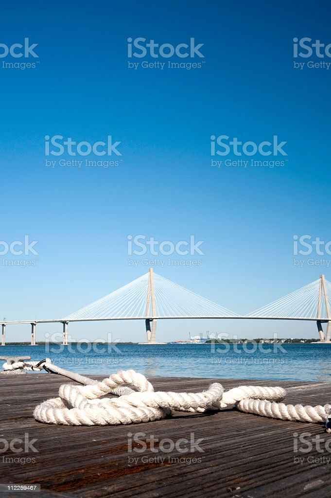 rope waiting for ship SC royalty-free stock photo
