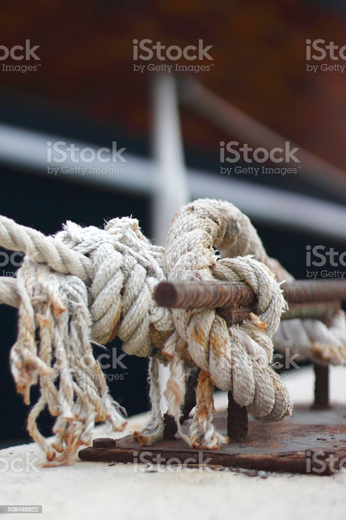 Rope winch on sailing stock photo