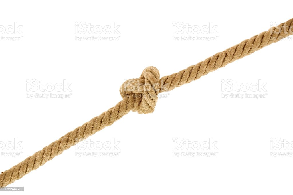 A rope with a knot on a white background stock photo