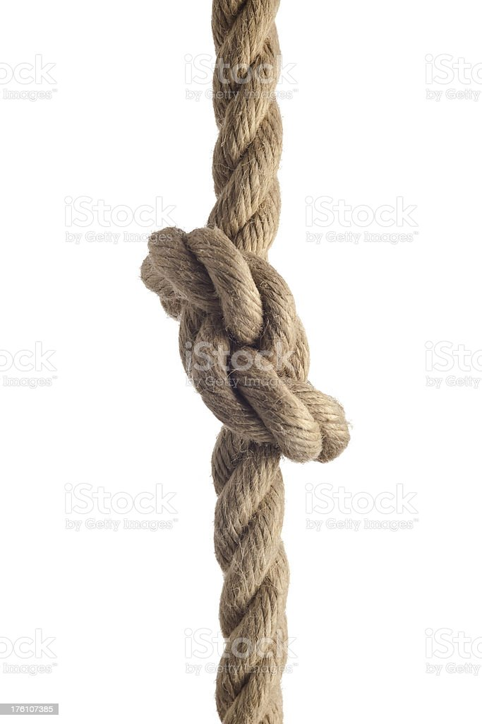 Rope with a knot. royalty-free stock photo